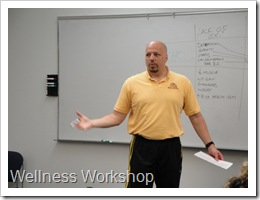 Coach Steve giving a wellness workshop.